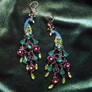 Jeweled Peacock chandelier earrings